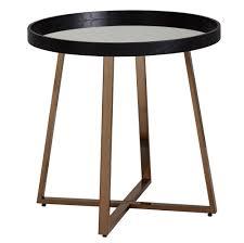 Wohnling Design Beistelltisch Rund ø585 Cm Gold Mit Glas Spiegel Wohnzimmertisch Schwarz
