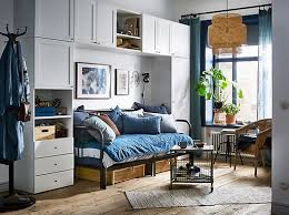 white and grey bedroom furniture. A Blue And White Studio Apartment With The PLATSA Wardrobe Arranged Around Sleeping / Grey Bedroom Furniture