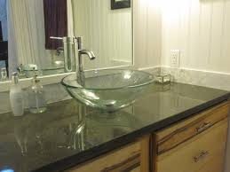 furniture black glass bathroom countertops connected by round glass washbowl and stainless steel faucet