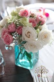 Fusion Floral Design Pink White Spray Roses In A Blue Mason Jar Adds A Delicate