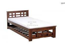 Teak wood bed in checkered pattern design