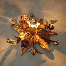 vintage italian tole fl light with gold finish 2