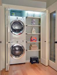 Simple Laundry Room Makeovers Upstairs Or Downstairs Laundry In A Closet Stack The Washer And