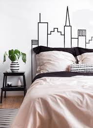 washi tape skyline headboard wall decoration on bedroom wall art ideas diy with 36 best diy wall art ideas designs and decorations for 2018