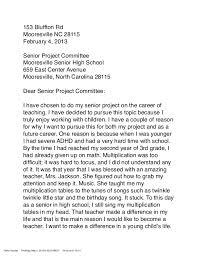 Sample Letter Of Intent For High School Teacher