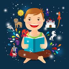 cartoon kid reading fairy tale book stock ilration ilration of flat icon