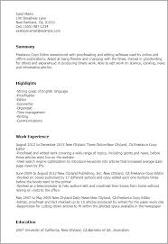 Resume Editor Custom Professional Freelance Copy Editor Templates To Showcase Your Talent