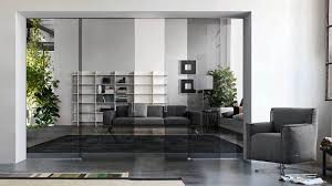 glass partition wall with suspended