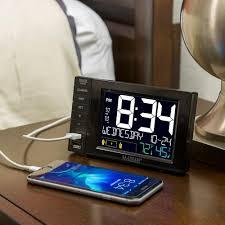 digital clock desktop dual usb charging port station dual alarms date nap time