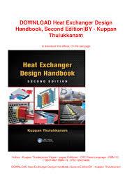 Kuppan Architectural Designs Download Heat Exchanger Design Handbook Second Edition By