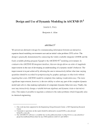 pdf design and use of dynamic modeling in ascend iv
