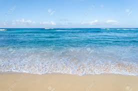 Ocean And Tropical Sandy Beach Background Hawaii Kauai