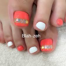 夏色オレンジホワイトペディキュア Blah Zeh ブラゼ