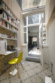 subway home office. Small Home Office In London With Geometric Flooring Tiles Also Exposed Brick Wall For Backdrop And White Window Framed Floating Shelves Subway A