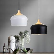 e27 30cm simple modern led ceiling light wood metal pendant lamp black white ac110 256v white cod