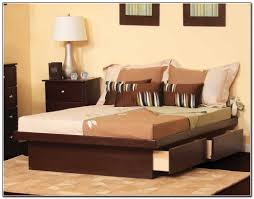 Queen Size Platform Bed With Drawers Storage Plans Frame Oak