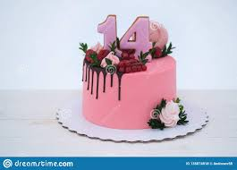 Beautiful Birthday Cake With The Number Fourteen Stock Photo Image