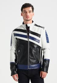 calvin klein jeans mallad racer leather jacket men clothing jackets bright white