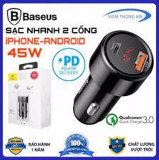 TẨU SẠC XE HƠI BASEUS 45w QC3.0 PD 2 CỔNG SẠC LED HIỂN THỊ - củ