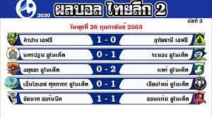 ผลบอลสดไทย ผลบอลไทยลีก 2 2020 วันพุธที่ 26 กุมภาพันธ์ 2563 (236ก.พ.63)  นัดที่ 2 ล่าสุด - YouTube