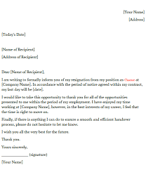Letters Of Resignation Template Resignation Letter Example For Cleaner Toresign Com