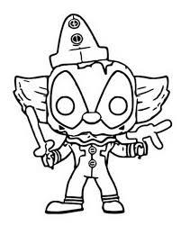 Kleurplaat Funko Pop Marvel Deadpool Clown 11