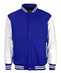 blue white faux leather sleeve varsity jacket men