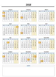 excel 2018 yearly calendar free monthly yearly excel calendar template 2018 and beyond