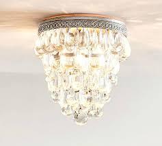 chandelier flush mount crystal drop pottery barn semi drum