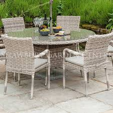 picture of alexander rose kool pearl 6 seater round garden furniture set