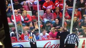 Girl flashes breast at hockey game