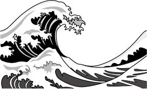 7月3日波の日 葛飾北斎富嶽三十六景神奈川沖浪裏の波のイラスト無料