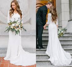 discount vintage modest wedding dresses with long sleeves bohemian