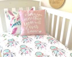Dream Catcher Crib Bedding Baby Cot Crib Quilt Blanket Dreamcatcher Pink And Aqua Baby Girl 51