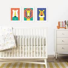 animal bright modern baby nursery wall art trio by paper joy for animal original print