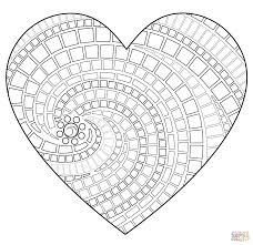 Small Picture Heart Mosaic coloring page Free Printable Coloring Pages