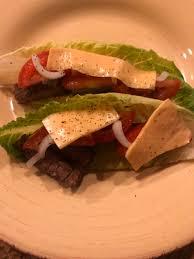 sirloin steak sandwich lettuce wrapped