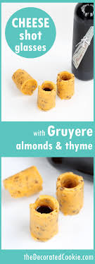 cheese shot glasses for wine with cheddar gruyere almonds and thyme