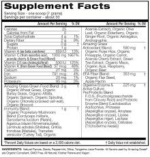 green superfood tangerine nutritional information
