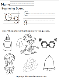 Letter sounds a to z books for preschool and kindergarten. Free Beginning Sounds Worksheet Letter G Free4classrooms