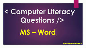 Ms Word Test Questions And Answers Computer Literacy Test Questions And Answers Ms Word Questions