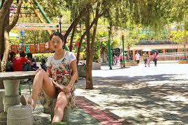 Chinese Female Public Flasher At Amusement Park Flashing Her Hairy.