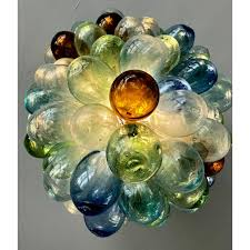 Image Pendant Multicolored Handblown Glass Light Fixture For Sale In Los Angeles Image Of Chairish Multicolored Handblown Glass Light Fixture Chairish