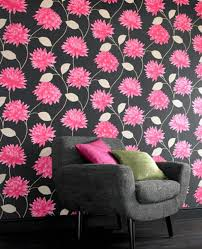 Arthouse Vintage Riva Chocolate Lime Wallpaper Living Room Or. Pink And  Black ...