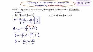 mathca21 algebra 2 linear equations in general form