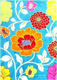 blue fl area rug rugs modern daisy flowers threshold