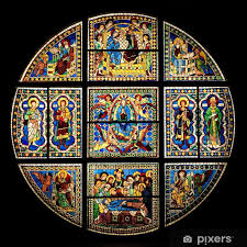 stained glass window in siena cathedral duomo vinyl wall mural europe