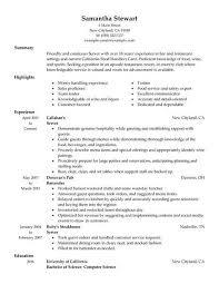 Resume For Servers Servers Samples No Experience Resumes Livecareer