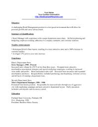 Objective For Resume In Sales Retail Job Resume Objective Resume Templates Design For