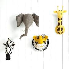 nursery animal heads this chic wall mountable felt animal head by walker will add a quirky